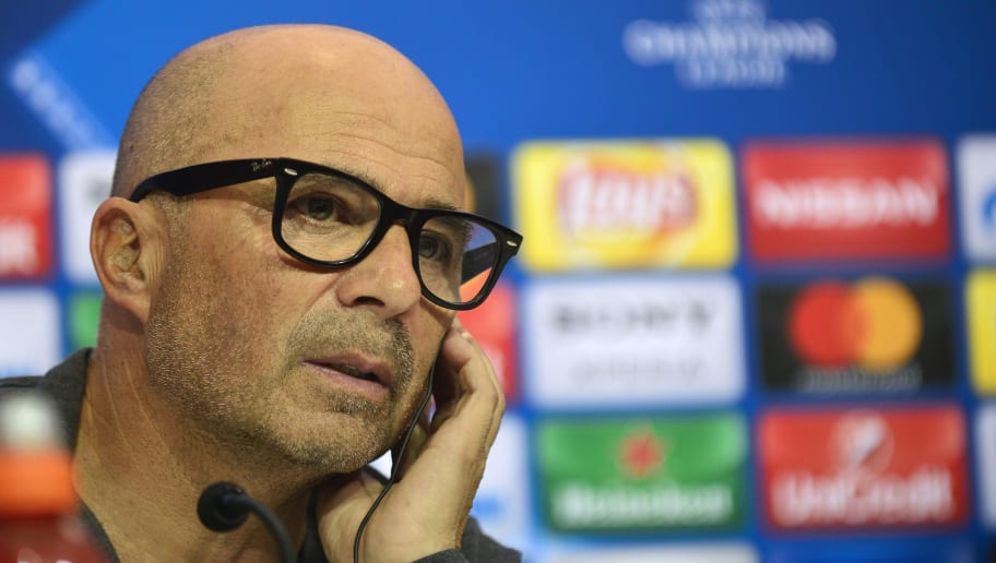 Sevilla's Argentinian coach Jorge Sampaoli gives a press conference on the eve of their UEFA Champions League football match against Leicester City at the Ramon Sanchez Pizjuan stadium in Sevilla on February 21, 2017 / AFP / CRISTINA QUICLER        (Photo credit should read CRISTINA QUICLER/AFP/Getty Images)