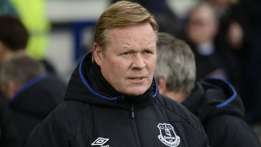 Everton's Dutch manager Ronald Koeman arrives for the English Premier League football match between Everton and Sunderland at Goodison Park in Liverpool, north west England on February 25, 2017. / AFP / Oli SCARFF / RESTRICTED TO EDITORIAL USE. No use with unauthorized audio, video, data, fixture lists, club/league logos or 'live' services. Online in-match use limited to 75 images, no video emulation. No use in betting, games or single club/league/player publications.  /         (Photo credit should read OLI SCARFF/AFP/Getty Images)