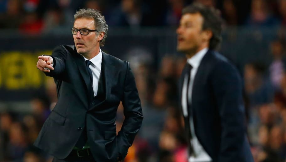 BARCELONA, SPAIN - APRIL 21:  Laurent Blanc head coach of PSG and Luis Enrique manager of Barcelona look on from the touchline during the UEFA Champions League Quarter Final second leg match between FC Barcelona and Paris Saint-Germain at Camp Nou on April 21, 2015 in Barcelona, Spain.  (Photo by Clive Rose/Getty Images)