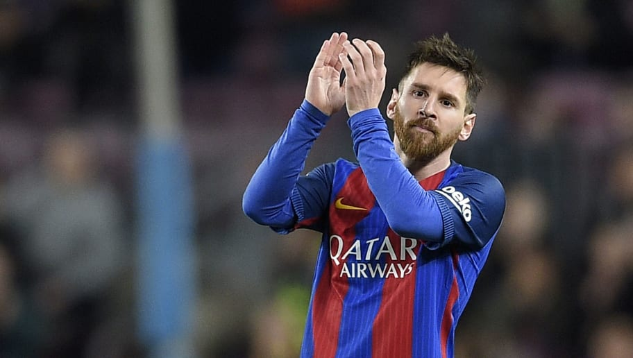 CORRECTION - Barcelona's Argentinian forward Lionel Messi applauds as he leaves the pitch during the Spanish league football match FC Barcelona vs Real Sporting de Gijon at the Camp Nou stadium in Barcelona on March 1, 2017. / AFP PHOTO / LLUIS GENE / The erroneous mention[s] appearing in the metadata of this photo by LLUIS GENE has been modified in AFP systems in the following manner: [ALL PHOTO'S INFOS EXCEPT FIRST PART BEFORE 'DURING']. Please immediately remove the erroneous mention[s] from all your online services and delete it (them) from your servers. If you have been authorized by AFP to distribute it (them) to third parties, please ensure that the same actions are carried out by them. Failure to promptly comply with these instructions will entail liability on your part for any continued or post notification usage. Therefore we thank you very much for all your attention and prompt action. We are sorry for the inconvenience this notification may cause and remain at your disposal for any further information you may require.        (Photo credit should read LLUIS GENE/AFP/Getty Images)