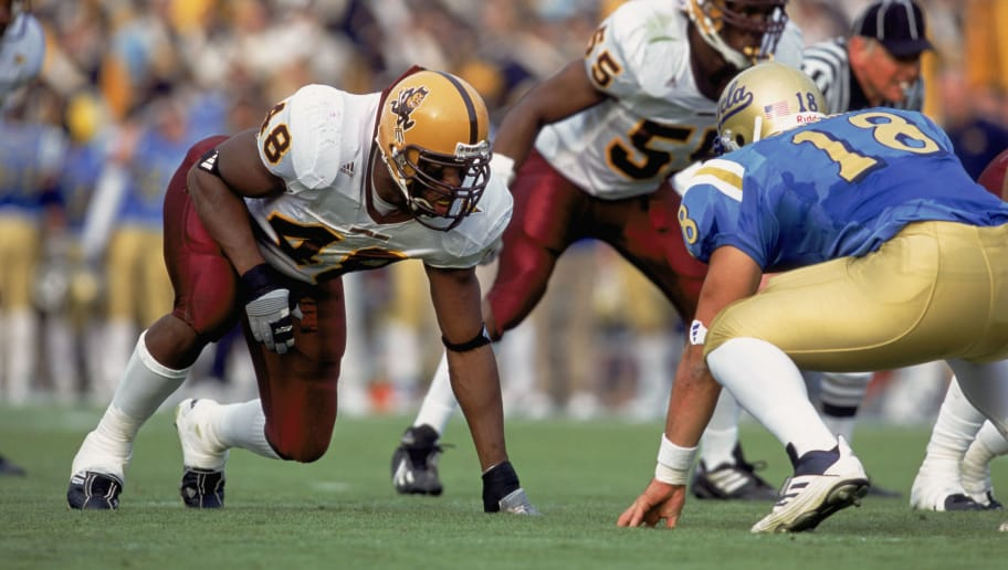 1 Dec 2001:  Terrell Suggs #48 of the Arizona State Sun Devils lines up across from Mike Seidman #18 of the UCLA Bruins during the Pac-10 Conference football game at the Rose Bowl in Pasadena, California.  The Bruins defeated the Sun Devils 52-42. Mandatory Credit:  Jeff Gross /Getty Images