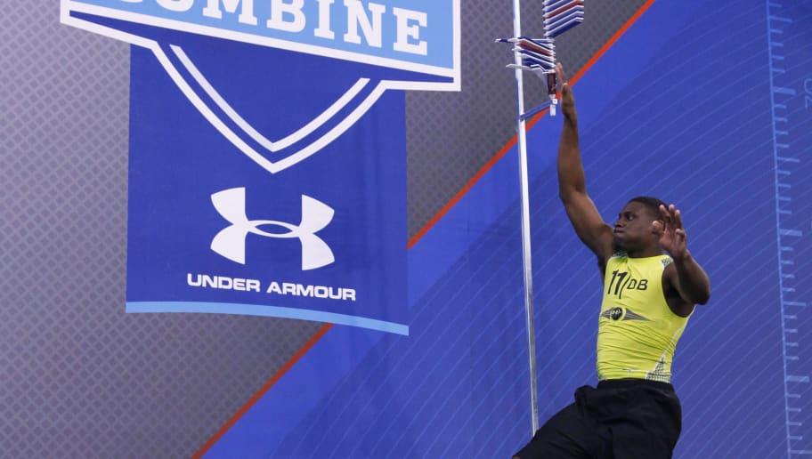 INDIANAPOLIS, IN - FEBRUARY 28: Defensive back Morris Claiborne of LSU participates in the vertical jump during the 2012 NFL Combine at Lucas Oil Stadium on February 28, 2012 in Indianapolis, Indiana. (Photo by Joe Robbins/Getty Images)