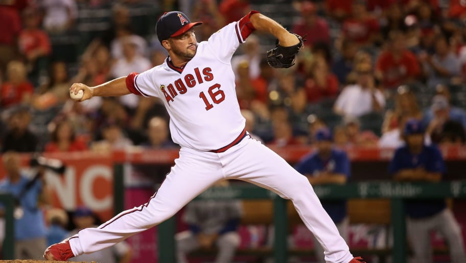 ANAHEIM, CA - JULY 20:  Huston Street #16 of the Los Angeles Angels of Anaheim pitches during the ninth inning of a baseball game against the Texas Rangers at Angel Stadium of Anaheim on July 20, 2016 in Anaheim, California.  (Photo by Sean M. Haffey/Getty Images)