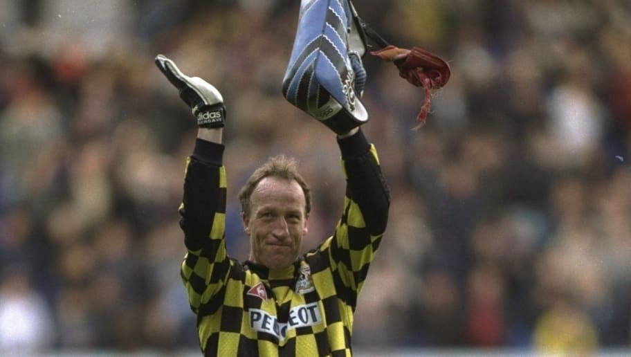11 May 1997:  Jubilation for Steve Ogrizovic of Coventry City after the FA Premier League match against Tottenham Hotspur at White Hart Lane in London, England. Coventry won 1-2 and avoided relegation. \ Mandatory Credit: Gary M Prior /Allsport