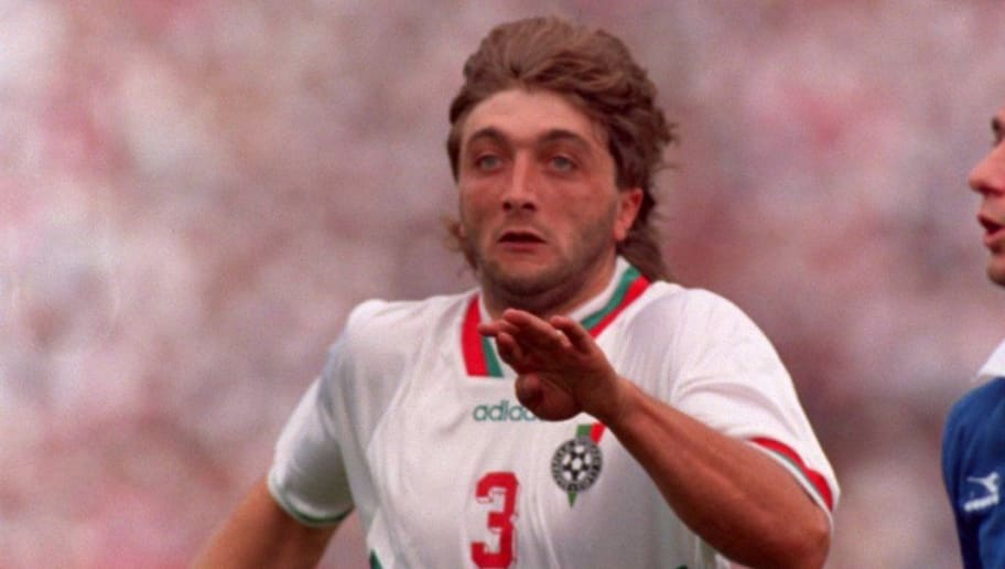 26 JUN 1994:  TRIFON IVANOV #3 OF BULGARIA AND ALEXANDROS ALEXOUDIS #13  OF GREECE CHALLENGE FOR THE BALL DURING THEIR 1994 WORLD CUP GAME AT SOLDIER FIELD IN CHICAGO, ILLINOIS.  BULGARIA WON 4-0.     Mandatory Credit: Ben Radford/ALLSPORT