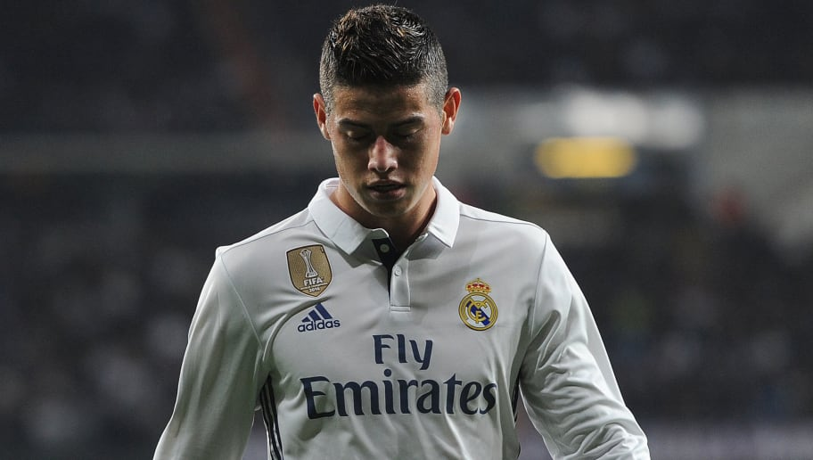 MADRID, SPAIN - JANUARY 04:  James Rodriguez of Real Madrid looks down during the Copa del Rey Round of 16 First Leg match between Real Madrid and Sevilla  at Bernabeu on January 4, 2017 in Madrid, Spain.  (Photo by Denis Doyle/Getty Images)