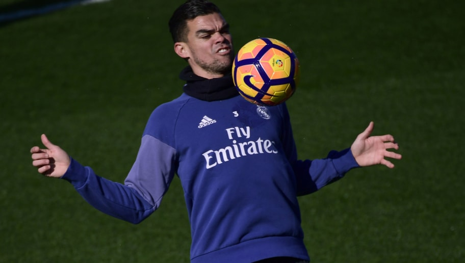 Real Madrid's Portuguese defender Pepe attends a training session at Valdebebas Sport City in Madrid on February 17, 2017 on the eve of their Liga's football match against Espanyol. / AFP / PIERRE-PHILIPPE MARCOU        (Photo credit should read PIERRE-PHILIPPE MARCOU/AFP/Getty Images)