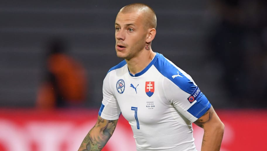 LILLE, FRANCE - JUNE 15: Vladimir Weiss of Slovakia in action during the UEFA EURO 2016 Group B match between Russia and Slovakia at Stade Pierre-Mauroy on June 15, 2016 in Lille, France.  (Photo by Matthias Hangst/Getty Images)