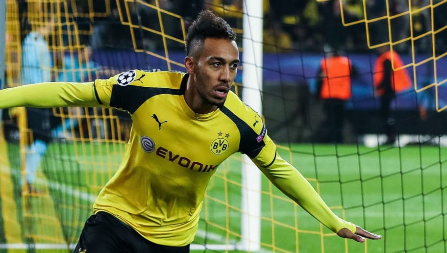 DORTMUND, GERMANY - MARCH 08: Pierre-Emerick Aubameyang of Dortmund (L) celebrates after scoring a goal to make it 1-0 during the UEFA Champions League Round of 16 second leg match between Borussia Dortmund and  SL Benfica at Signal Iduna Park on March 8, 2017 in Dortmund, Germany. (Photo by Maja Hitij/Bongarts/Getty Images)