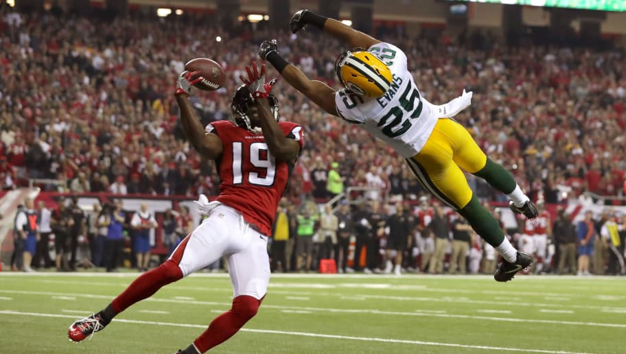 ATLANTA, GA - JANUARY 22: Marwin Evans #25 of the Green Bay Packers breaks up a pass intended for Aldrick Robinson #19 of the Atlanta Falcons in the second quarter in the NFC Championship Game at the Georgia Dome on January 22, 2017 in Atlanta, Georgia.  (Photo by Streeter Lecka/Getty Images)