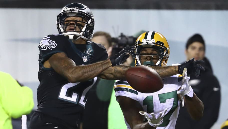 PHILADELPHIA, PA - NOVEMBER 28: Davante Adams #17 of the Green Bay Packers catches a touchdown pass against Nolan Carroll #22 of the Philadelphia Eagles in the second quarter at Lincoln Financial Field on November 28, 2016 in Philadelphia, Pennsylvania. (Photo by Al Bello/Getty Images)