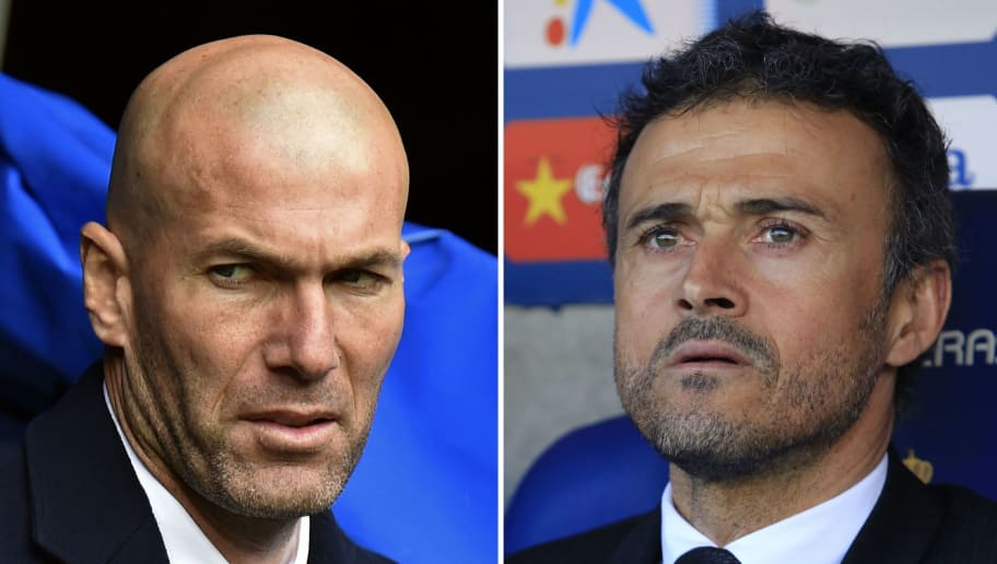 (FILES) A combination of two pictures made on April 1st, 2016 shows Real Madrid's French coach Zinedine Zidane (L) before the Spanish league football match Real Madrid CF vs RC Celta de Vigo at the Santiago Bernabeu stadium in Madrid on March 5, 2016 and Barcelona's coach Luis Enrique before the Spanish league football match RCD Espanyol vs FC Barcelona at the Power8 stadium in Cornella de Llobregat on January 2, 2016. Barcelona will honour legendary former player and coach Johan Cruyff as they look to inflict more misery upon eternal rivals Real Madrid in the Clasico on April 2nd, 2016. / AFP / GERARD JULIEN AND PAU BARRENA        (Photo credit should read GERARD JULIEN,PAU BARRENA/AFP/Getty Images)