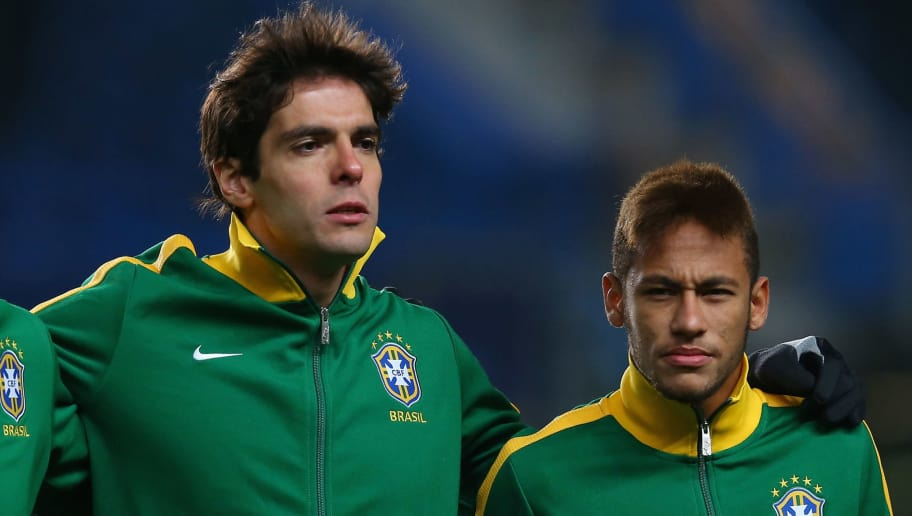 LONDON, ENGLAND - MARCH 25:  Brazil forward players (L-R) Fred, Kaka and Neymar line up during the International Friendly match between Russia and Brazil at Stamford Bridge on March 25, 2013 in London, England.  (Photo by Julian Finney/Getty Images)