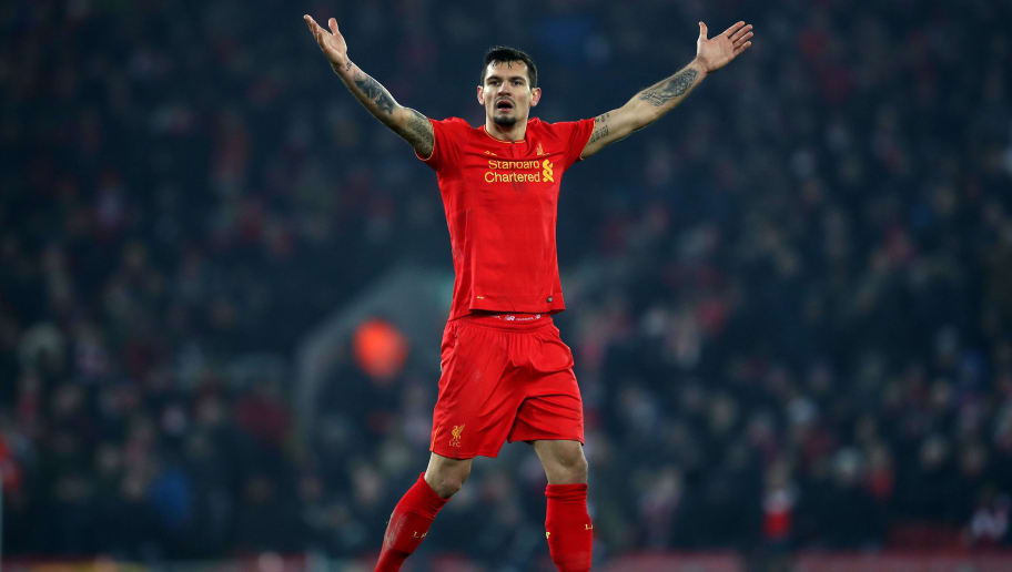 LIVERPOOL, ENGLAND - JANUARY 25: Dejan Lovren of Liverpool reacts during the EFL Cup Semi-Final Second Leg match between Liverpool and Southampton at Anfield on January 25, 2017 in Liverpool, England.  (Photo by Julian Finney/Getty Images)