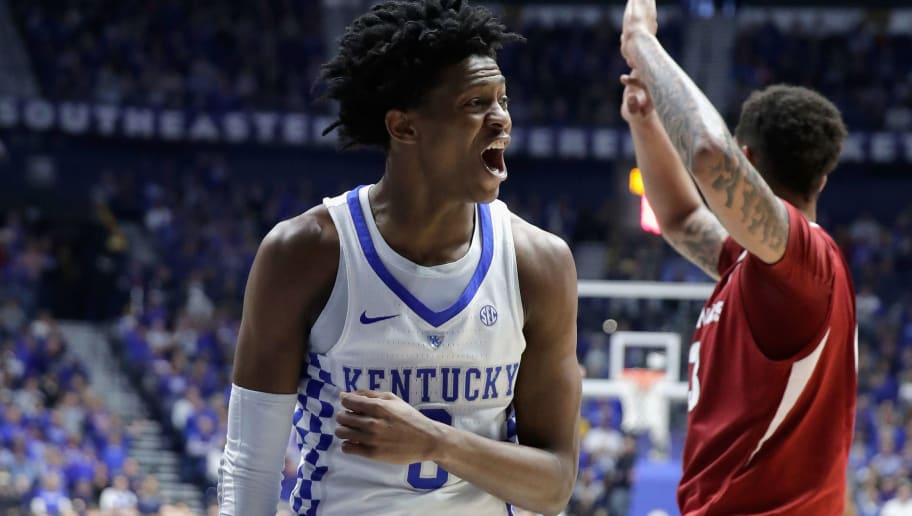 NASHVILLE, TN - MARCH 12:  De'Aaron Fox #0 of the Kentucky Wildcats celebrates against the Arkansas Razorbacks during the final of the SEC Basketball Tournament at Bridgestone Arena on March 12, 2017 in Nashville, Tennessee.  (Photo by Andy Lyons/Getty Images)