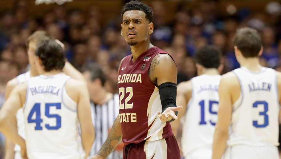 DURHAM, NC - FEBRUARY 28:  Xavier Rathan-Mayes #22 of the Florida State Seminoles reacts after a play during their game against the Duke Blue Devils at Cameron Indoor Stadium on February 28, 2017 in Durham, North Carolina.  (Photo by Streeter Lecka/Getty Images)