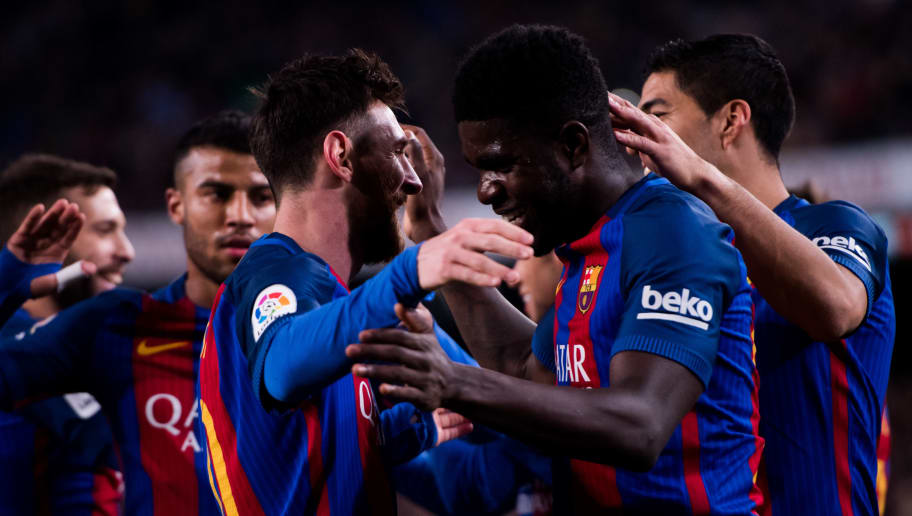 BARCELONA, SPAIN - MARCH 04: Samuel Umtiti (2nd R) of FC Barcelona celebrates with his teammate Lionel Messi (L) after scoring his team's fourth goal during the La Liga match between FC Barcelona and RC Celta de Vigo at Camp Nou stadium on March 4, 2017 in Barcelona, Spain. (Photo by Alex Caparros/Getty Images)