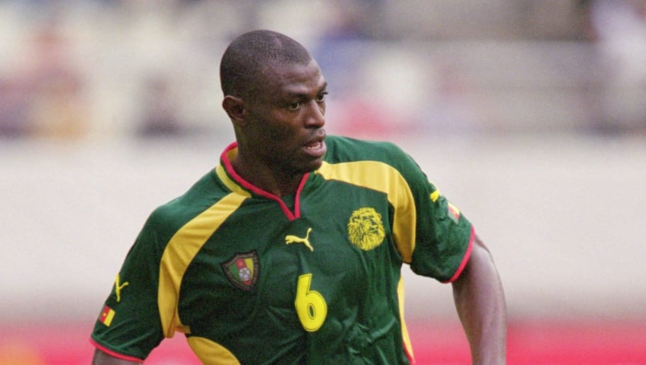 31 May 2001:  Pierre Njanka of Cameroon runs with the ball during the FIFA Confederations Cup match against Brazil played at the Kashima Soccer Stadium, in Ibaraki, Japan. Brazil won the match 2-0. \ Mandatory Credit: Ben Radford /Allsport