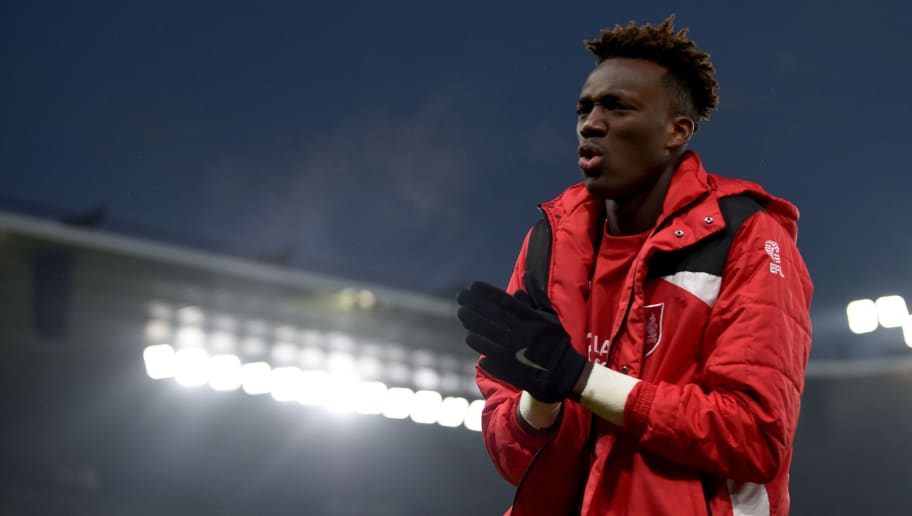 DERBY, ENGLAND - FEBRUARY 11: Tammy Abraham of Bristol City looks on after the Sky Bet Championship match between Derby County and Bristol City at the iPro Stadium on February 11, 2017 in Derby, England (Photo by Nathan Stirk/Getty Images)