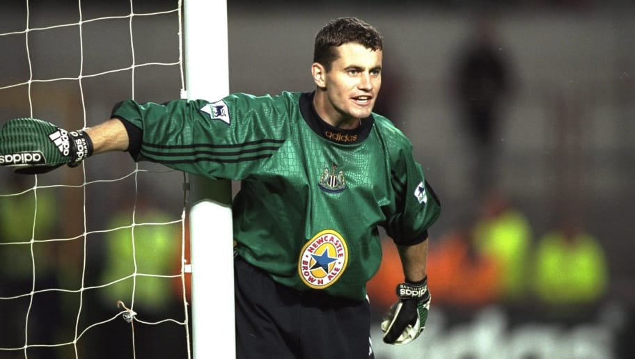 15 Jul 1997:  Shay Given of Newcastle United covers his near post during the pre-season friendly against PSV Eindhoven of the Netherlands at Lansdowne Road in Dublin, Ireland. Given joined Newcastle in a 1.5 million pound transfer from Blackburn Rovers.\ Mandatory Credit: Ben Radford /Allsport