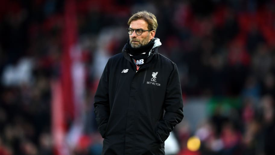 LIVERPOOL, ENGLAND - MARCH 04:  Jurgen Klopp, Manager of Liverpool looks on as his team warm up prior to the Premier League match between Liverpool and Arsenal at Anfield on March 4, 2017 in Liverpool, England.  (Photo by Laurence Griffiths/Getty Images)