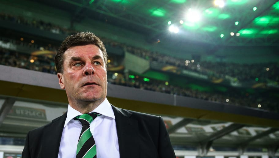 MOENCHENGLADBACH, GERMANY - MARCH 16: Head Coach Dieter Hecking of Moenchengladbach looks on prior the UEFA Europa League Round of 16 second leg match between Borussia Moenchengladbach and FC Schalke 04 at Borussia Park Stadium on March 16, 2017 in Moenchengladbach, Germany. (Photo by Maja Hitij/Bongarts/Getty Images)