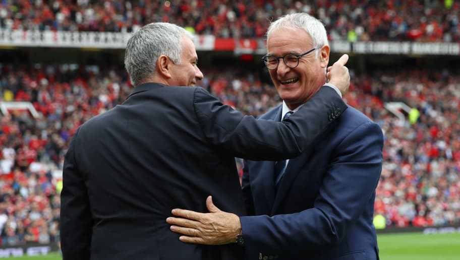 MANCHESTER, ENGLAND - SEPTEMBER 24: Jose Mourinho, Manager of Manchester United (L) and Claudio Ranieri, Manager of Leicester City (R) embrace prior to kick off during the Premier League match between Manchester United and Leicester City at Old Trafford on September 24, 2016 in Manchester, England.  (Photo by Clive Brunskill/Getty Images)