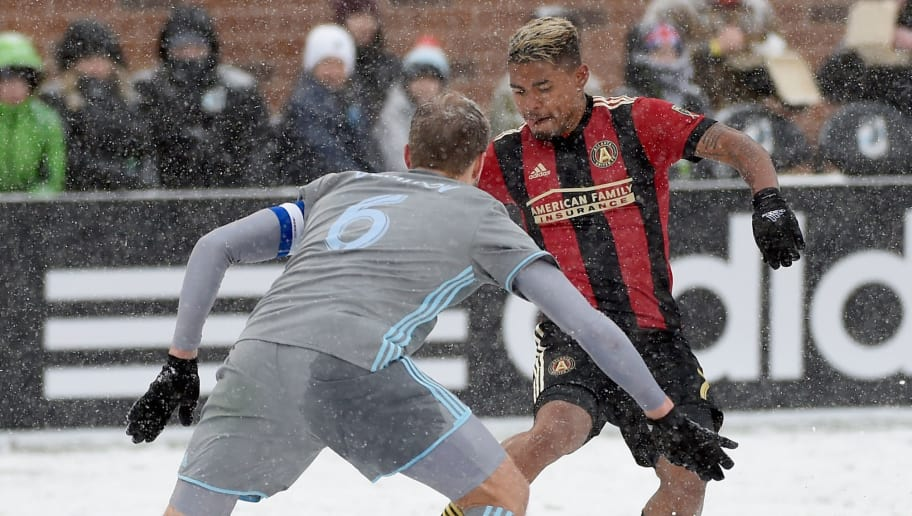 MINNEAPOLIS, MN - MARCH 12: Josef Martinez #7 of Atlanta United FC controls the ball against Vladim Demidov #6 of Minnesota United FC during the second half of the match on March 12, 2017 at TCF Bank Stadium in Minneapolis, Minnesota. Atlanta defeated Minnesota 6-1. (Photo by Hannah Foslien/Getty Images)