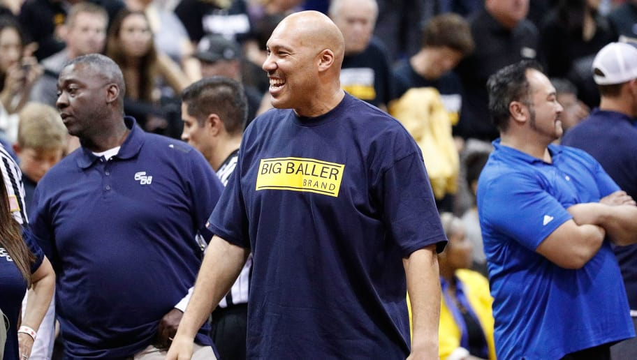 TORRANCE, CA - MARCH 14:  Lavar Ball is seen at the game between Chino Hills High School and Bishop Montgomery High School at El Camino College on March 14, 2017 in Torrance, California.  (Photo by Josh Lefkowitz/Getty Images)