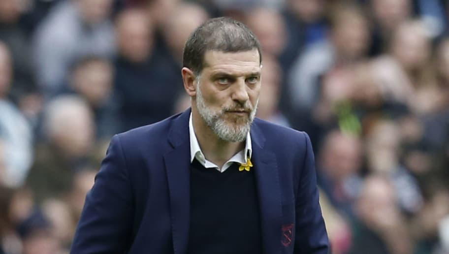 West Ham United's Croatian manager Slaven Bilic reacts during the English Premier League football match between West Ham United and Leicester City at The London Stadium, in east London on March 18, 2017. / AFP PHOTO / Ian KINGTON / RESTRICTED TO EDITORIAL USE. No use with unauthorized audio, video, data, fixture lists, club/league logos or 'live' services. Online in-match use limited to 75 images, no video emulation. No use in betting, games or single club/league/player publications.  /         (Photo credit should read IAN KINGTON/AFP/Getty Images)