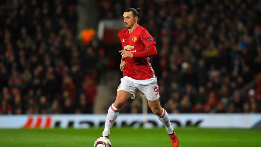 MANCHESTER, ENGLAND - MARCH 16:  United player Zlatan Ibrahimovic in action  during the UEFA Europa  League Round of 16 second leg match between Manchester United and FK Rostov at Old Trafford on March 16, 2017 in Manchester, United Kingdom.  (Photo by Stu Forster/Getty Images)