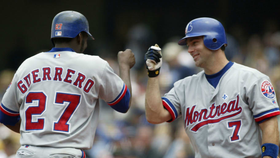 LOS ANGELES - AUGUST 21:  Vladimir Guerrro #27 of the Montreal Expos is congratulated by teammate Todd Zeile #7 after Guerrero hit a solo homerun in the third inning against the Los Angeles Dodgers during their game on August 21, 2003 at Dodger Stadium in Los Angeles, California. (Photo by Jeff Gross/Getty Images)
