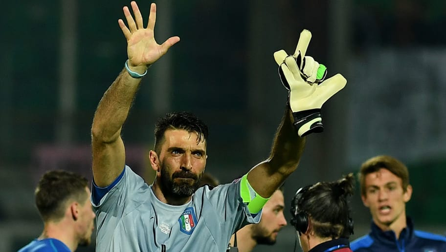b4f5f8141b6 Italy's goalkeeper Gianluigi Buffon greets fans at the end of the FIFA  World Cup 2018 qualification