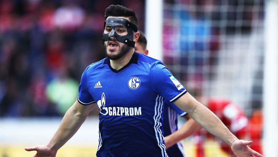 MAINZ, GERMANY - MARCH 19:  Sead Kolasinac of Schalke 04 celebrates after scoring a goal during the Bundesliga match between 1. FSV Mainz 05 and FC Schalke 04 at Opel Arena on March 19, 2017 in Mainz, Germany.  (Photo by Alex Grimm/Bongarts/Getty Images)
