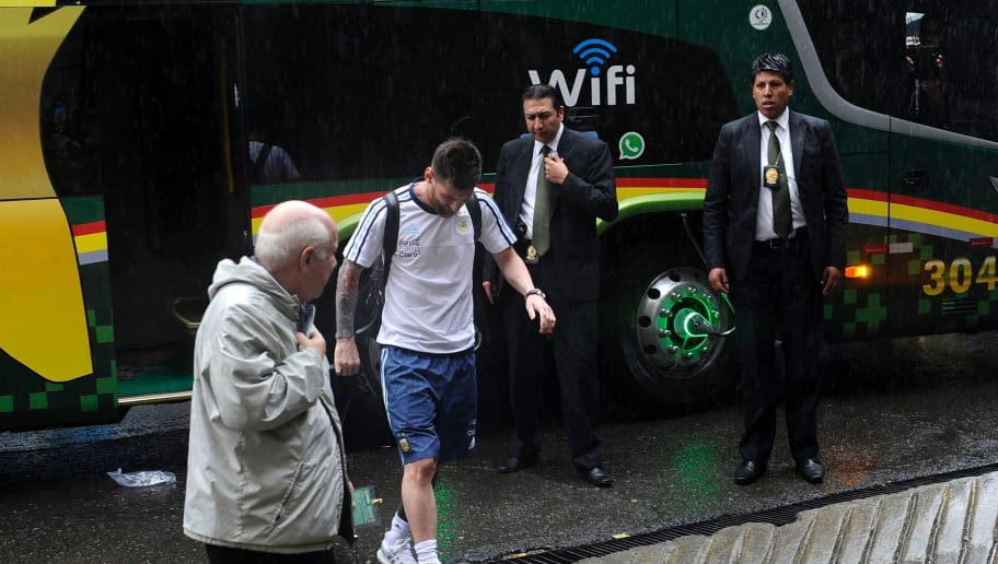 Argentinian national football team player Lionel Messi arrives at the Hernando Siles stadium ahead of Argentina's 2018 FIFA World Cup qualifier football match against Bolivia in La Paz, on March 28, 2017. Barcelona star Lionel Messi was suspended for four Argentina matches by FIFA on Tuesday for swearing at an assistant referee, a ban that will see the striker miss out on decisive qualifiers for the 2018 World Cup. / AFP PHOTO / JORGE BERNAL        (Photo credit should read JORGE BERNAL/AFP/Getty Images)