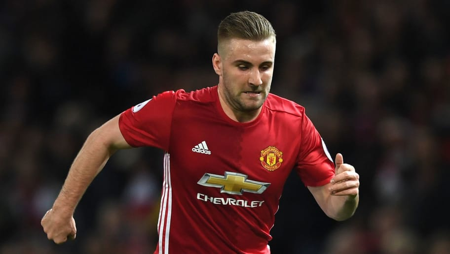 MANCHESTER, ENGLAND - APRIL 04: Luke Shaw of Manchester Unied in action during the Premier League match between Manchester United and Everton at Old Trafford on April 4, 2017 in Manchester, England.  (Photo by Shaun Botterill/Getty Images)