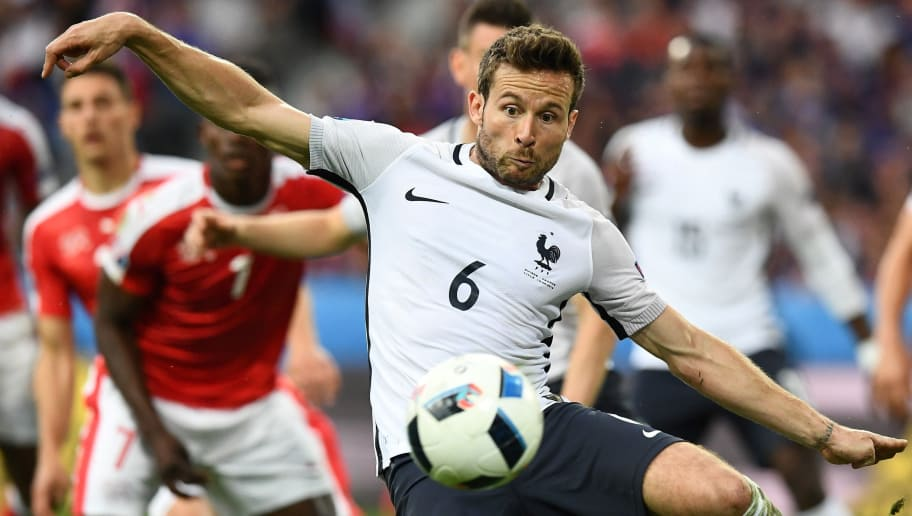 France's midfielder Yohan Cabaye plays the ball during the Euro 2016 group A football match between Switzerland and France at the Pierre-Mauroy stadium in Lille on June 19, 2016. / AFP / FRANCK FIFE        (Photo credit should read FRANCK FIFE/AFP/Getty Images)