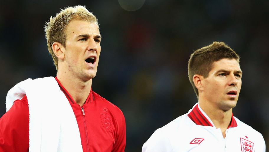 KIEV, UKRAINE - JUNE 24:  Joe Hart and Steven Gerrard of England sing ahead of the UEFA EURO 2012 quarter final match between England and Italy at The Olympic Stadium on June 24, 2012 in Kiev, Ukraine.  (Photo by Alex Livesey/Getty Images)