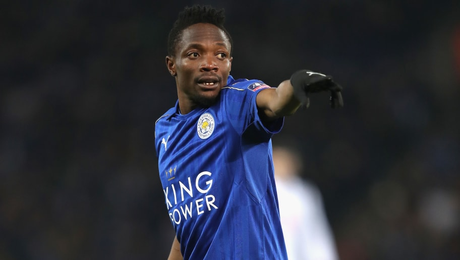 LEICESTER, ENGLAND - FEBRUARY 08:  Ahmed Musa of Leicester City in action during  The Emirates FA Cup Fourth Round Replay beteween Leicester City and Derby County at The King Power Stadium on February 8, 2017 in Leicester, England.  (Photo by Mark Thompson/Getty Images)