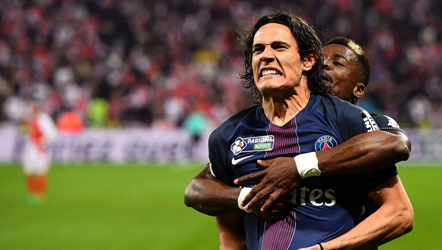 Paris Saint-Germain's Uruguayan forward Edinson Cavani (L) celebrates his goal with Paris Saint-Germain's French defender Layvin Kurzawa during the French League Cup final football match Monaco (ASM) vs Paris Saint-Germain (PSG) on April 1, 2017 at the Parc Olympique Lyonnais stadium in Decines-Charpieu, near Lyon. Paris won 4-1. Paris won 4-1.  / AFP PHOTO / FRANCK FIFE        (Photo credit should read FRANCK FIFE/AFP/Getty Images)