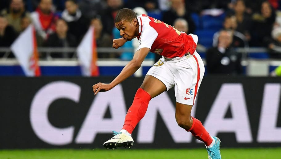 Monaco's French forward Kylian Mbappe shoots the ball during the French League Cup final football match between Paris Saint-Germain (PSG) and Monaco (ASM) on April 1, 2017, at the Parc Olympique Lyonnais stadium in Decines-Charpieu, near Lyon. / AFP PHOTO / FRANCK FIFE        (Photo credit should read FRANCK FIFE/AFP/Getty Images)