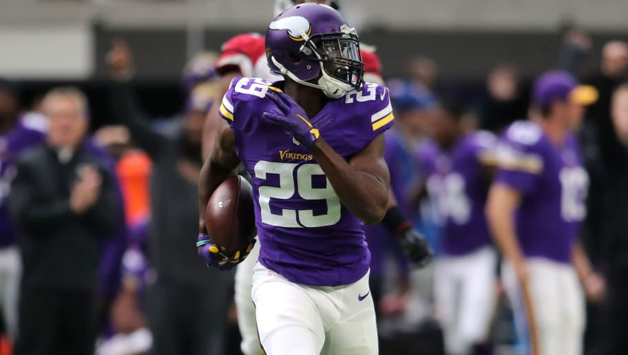 MINNEAPOLIS, MN - NOVEMBER 20: Xavier Rhodes #29 of the Minnesota Vikings carries the ball for a touchdown after intercepting a pass in the second quarter of the game on November 20, 2016 at US Bank Stadium in Minneapolis, Minnesota. (Photo by Adam Bettcher/Getty Images)