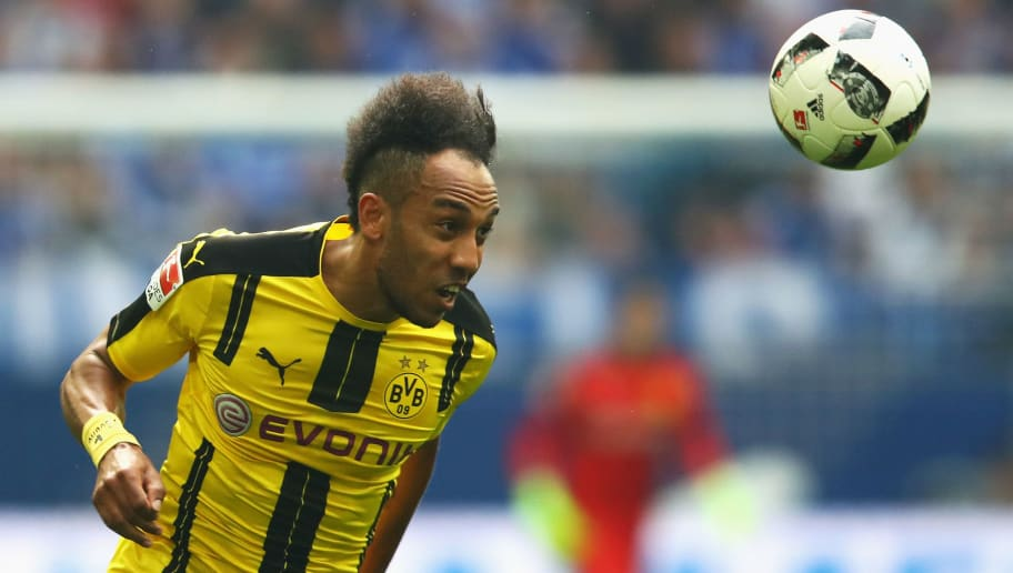 GELSENKIRCHEN, GERMANY - APRIL 01:  Pierre-Emerick Aubameyang of Borussia Dortmund in action during the Bundesliga match between FC Schalke 04 and Borussia Dortmund at Veltins-Arena on April 1, 2017 in Gelsenkirchen, Germany.  (Photo by Dean Mouhtaropoulos/Bongarts/Getty Images)