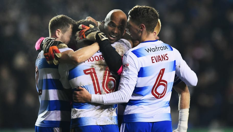 READING, ENGLAND - JANUARY 24:  Goalkeeper Ali Al-Habsi of Reading (C) celebrates victory with team mates after the Sky Bet Championship match between Reading and Fulham at Madejski Stadium on January 24, 2017 in Reading, England.  (Photo by Dan Mullan/Getty Images)