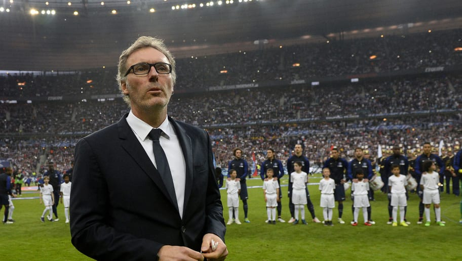 Paris Saint-Germain's French head coach Laurent Blanc looks prior to the French Cup final football match beween Marseille (OM) and Paris Saint-Germain (PSG) on May 21, 2016 at the Stade de France in Saint-Denis, north of Paris.  AFP PHOTO / FRANCK FIFE / AFP / FRANCK FIFE        (Photo credit should read FRANCK FIFE/AFP/Getty Images)