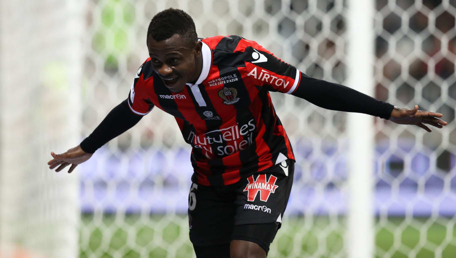 Nice's Ivorian midfielder Jean Michael Seri celebrates after scoring a goalduring the French L1 football match Nice (OGCN) vs Toulouse (TFC) on December 4, 2016 at the 'Allianz Riviera' stadium in Nice, southeastern France.  / AFP / VALERY HACHE        (Photo credit should read VALERY HACHE/AFP/Getty Images)