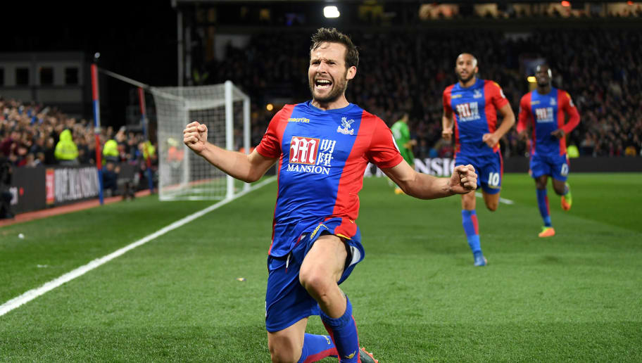 LONDON, ENGLAND - APRIL 10:  Yohan Cabaye of Crystal Palace celebrates scoring their second goal during the Premier League match between Crystal Palace and Arsenal at Selhurst Park on April 10, 2017 in London, England.  (Photo by Mike Hewitt/Getty Images)