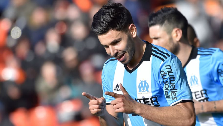 Marseille's French midfielder Morgan Sanson celebrates after scoring during the French L1 football match FC Lorient vs Olympique de Marseille (OM) at the Moustoir stadium in Lorient, western France, on March 5, 2017.    / AFP PHOTO / LOIC VENANCE        (Photo credit should read LOIC VENANCE/AFP/Getty Images)