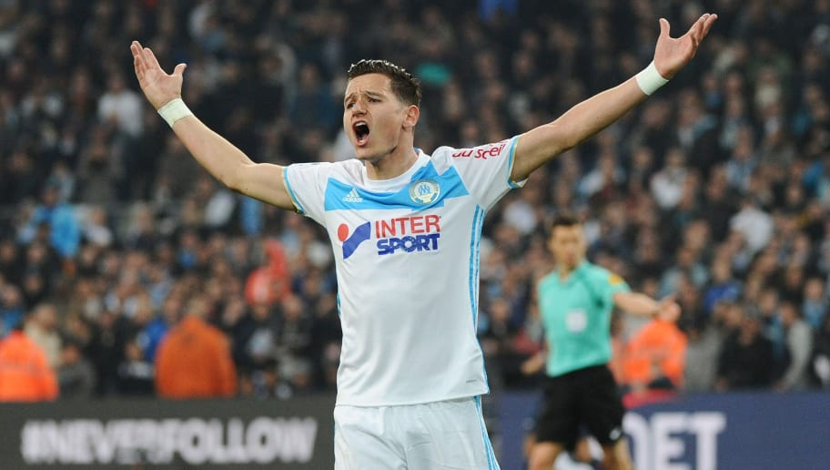 Olympique de Marseille's French midfielder Florian Thauvin reacts during the French L1 football match Marseille vs Paris on February 26, 2017, at the Velodrome stadium in Marseille, southern France.  / AFP / Franck PENNANT        (Photo credit should read FRANCK PENNANT/AFP/Getty Images)
