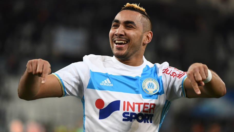 Olympique de Marseille's French forward Dimitri Payet reacts after scoring the second goal during the French Ligue 1 football match between Olympique de Marseille (OM) and Guingamp at the Velodrome stadium in Marseille on February 8, 2017.   / AFP / BORIS HORVAT        (Photo credit should read BORIS HORVAT/AFP/Getty Images)